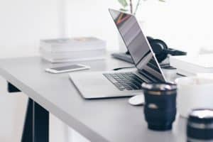 Desk with Laptop and Coffee Mug